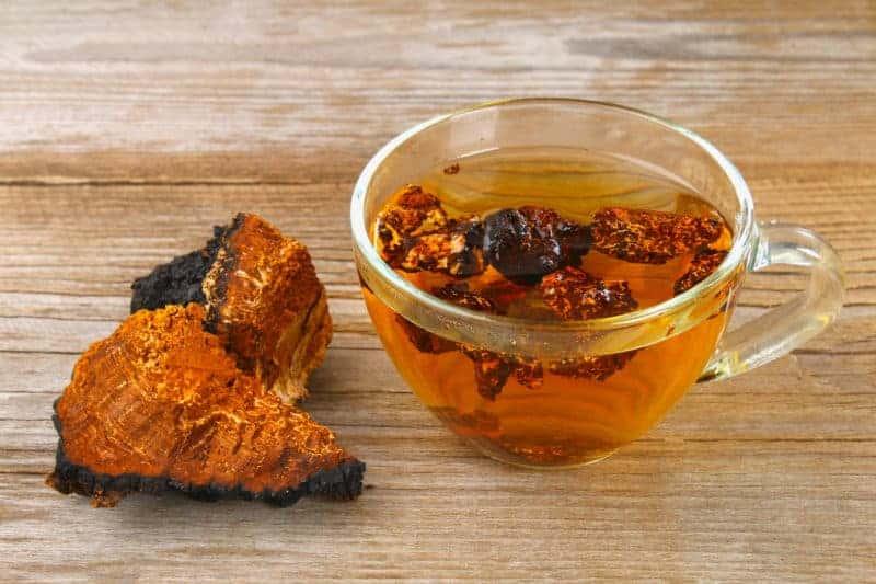 Chaga Tee neben getrocknetem Chaga auf Holzuntergrund