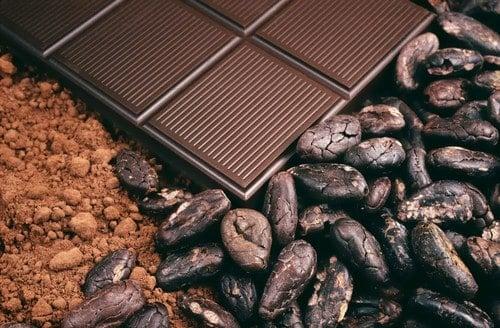 Kakao Pulver, Bohnen und Schokolade in Nahaufnahme